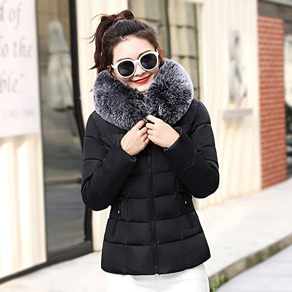 Amazon.com: Toimoth Women Winter Warm Faux Fur Short Hooded Coat Slim Cotton-Padded Big Fur Collar Coats Jackets: Clothing