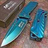 Mtech Blue Titanium Tactical Folding Rescue Pocket Knife