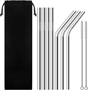 """7 Pack Stainless Steel Wide Drinking Straws, 9.9"""" and 10.5"""" Long, SENHAI Metal Reusable Straws for Smoothie Cold Beverage - (0.24"""", 0.31"""", 0.35"""", 0.47"""" Diameter)"""