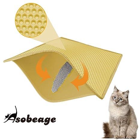 Asobeage Estera de Arena de Doble Capa para Gatos, Estera de Aterrizaje Impermeable Alfombra de