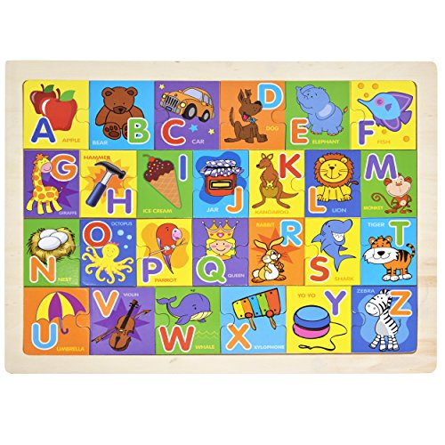 le Board - Toddler Learning ABC Toy Smart Visual Game with 26 Large Size Pictures, Words and Letter Blocks for Kids Boys Girls Entertaining and Fun To Teach and Learn ()