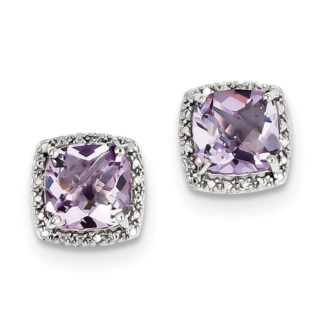ICE CARATS 925 Sterling Silver Pink Quartz Diamond Post Stud Ball Button Earrings Fine Jewelry Gift Set For Women Heart