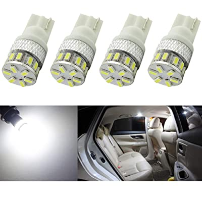 Alopee 4-Pack T10 194 168 2825 Extremely Bright 300Lums White 5th Generation Non-Polarity LED Light 12V-24V - 18SMD 3014 Car Replacement for Map Dome License Plate Dashboard Side Marker Light: Automotive
