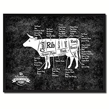 Beef Meat Cow Cuts Butchers Chart Canvas Print, Picture Frame Home Décor Wall Art