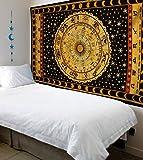 Handicrunch Black Zodiac Horoscope Tapestry, Indian Astrology Hippie Wall Hanging, Ethnic Decorative Art, Celtic Zodiac Tapestry. (85 x 55)