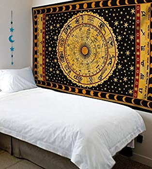 Handicrunch Black Zodiac Horoscope Tapestry, Indian Astrology Hippie Wall Hanging, Ethnic Decorative Art, Celtic Zodiac Tapestry. (85 X 55) 1