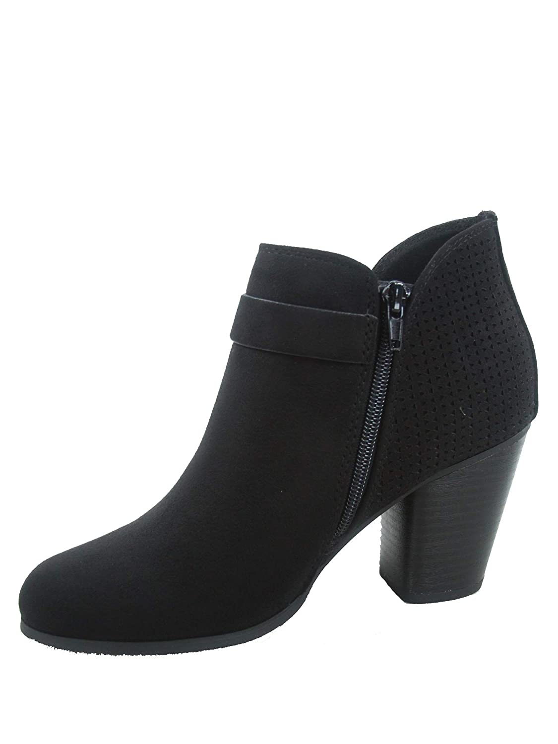 FZ-Iceage-s Womens Stylish Almond Toe Mid-Heel Zipper Buckle Ankle Booties Shoes Black