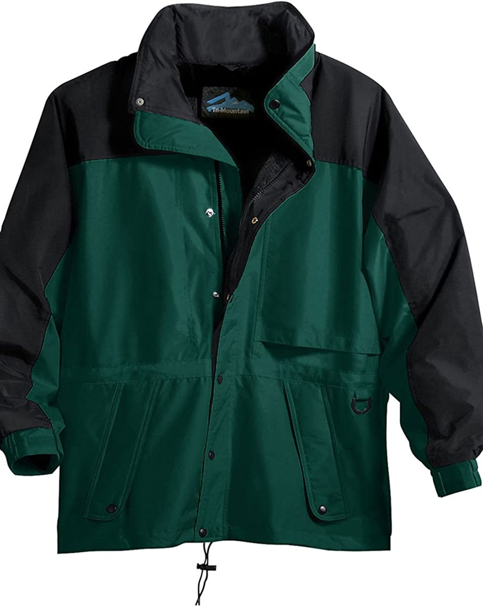 Tri-Mountain 9300 Colorblock nylon parka with mesh lining - Forest Green / Black - L