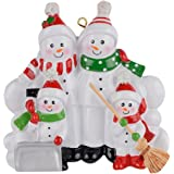 Sweeping Snowman Family of 4 Funny Personalized Christmas Ornament