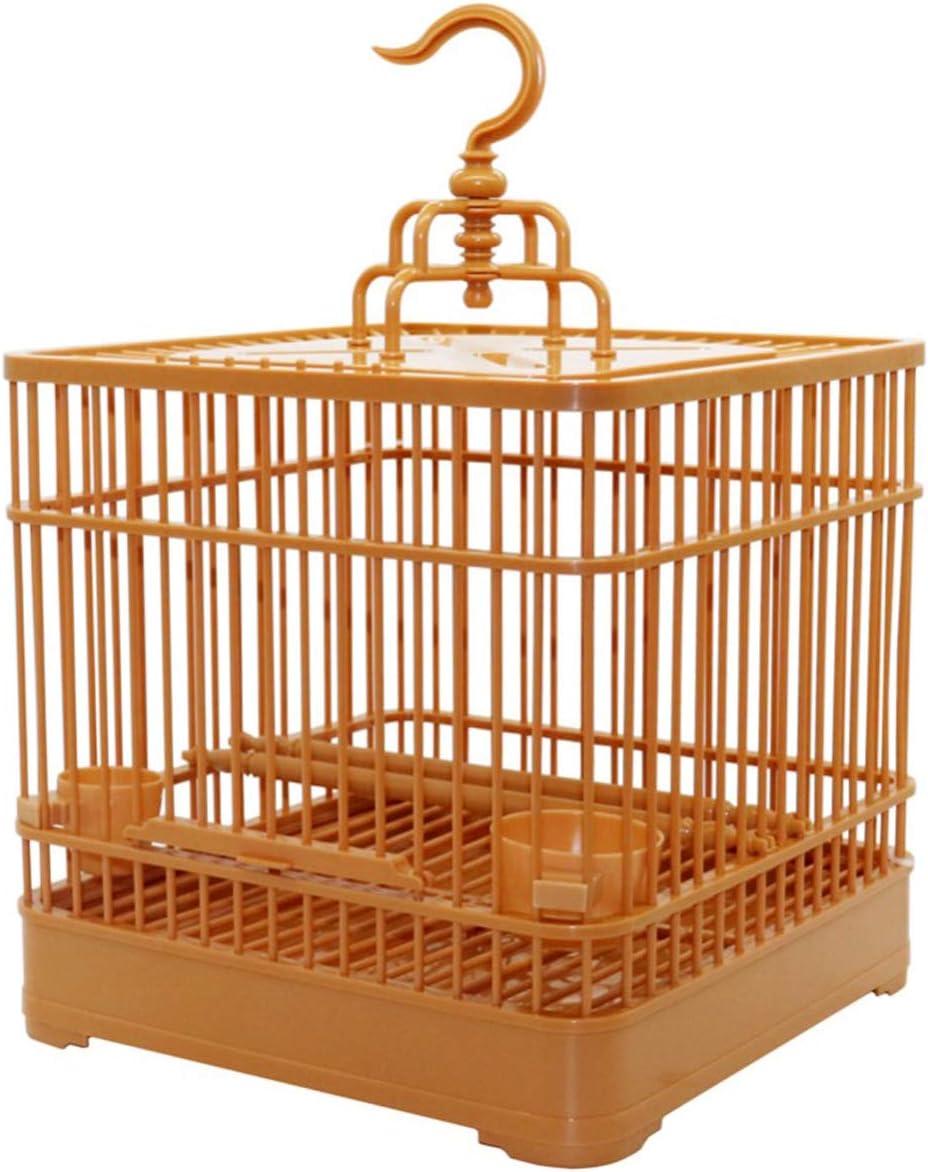 Yuehuam Jaula para Pájaros con Tazas de Alimentación DIY Bambú Cuadrado Gancho para Colgar Portador de Aves Casa de Viaje para Pájaros Pequeños