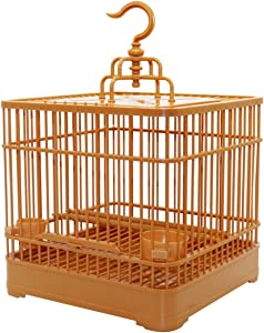 Hanging Bird Cage with Feeder, Plastic Bird House Lantern Carrier with Rolling Stand for Lovebirds Finches Canaries Parakeets Cockatiels Budgie Parrotlet Conures