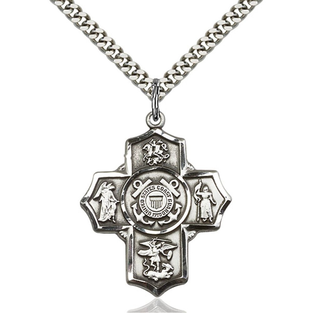 Sterling Silver 5-Way / Coast Guard Pendant 1 1/4 x 1 inches with Heavy Curb Chain