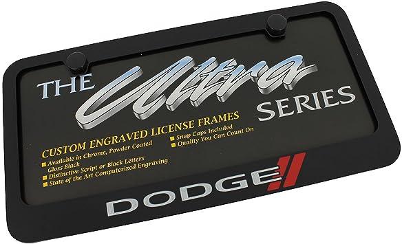 Dodge New Logo Black License Plate Frame EL