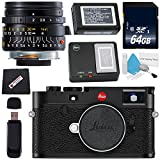 Cheap Leica M10 Digital Rangefinder Camera (Black) + Leica Summicron-M 28mm f/2.0 Lens + 64GB SDXC Card + Card Reader + Microfiber Cloth Bundle