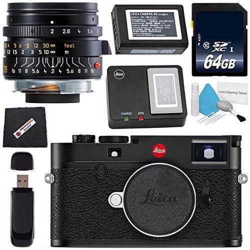 Cheap Leica M10 Digital Rangefinder Camera (Black) + Leica Summicron-M 28mm f/2.0 Lens + 64GB SDXC Card + Card Reader + Microfiber Cloth Bundle