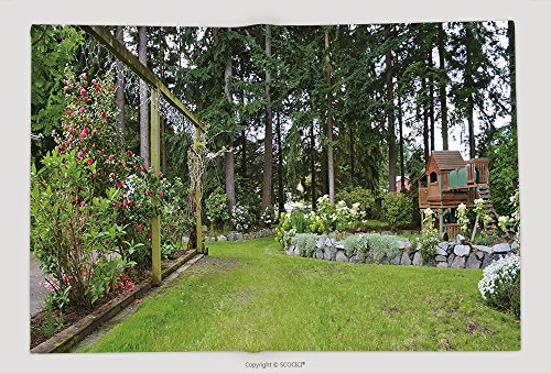 Supersoft Fleece Throw Blanket House Spring Backyard With Roses Patio And Kids Playground With Wooden Swing And Slide 130601801 by vanfan