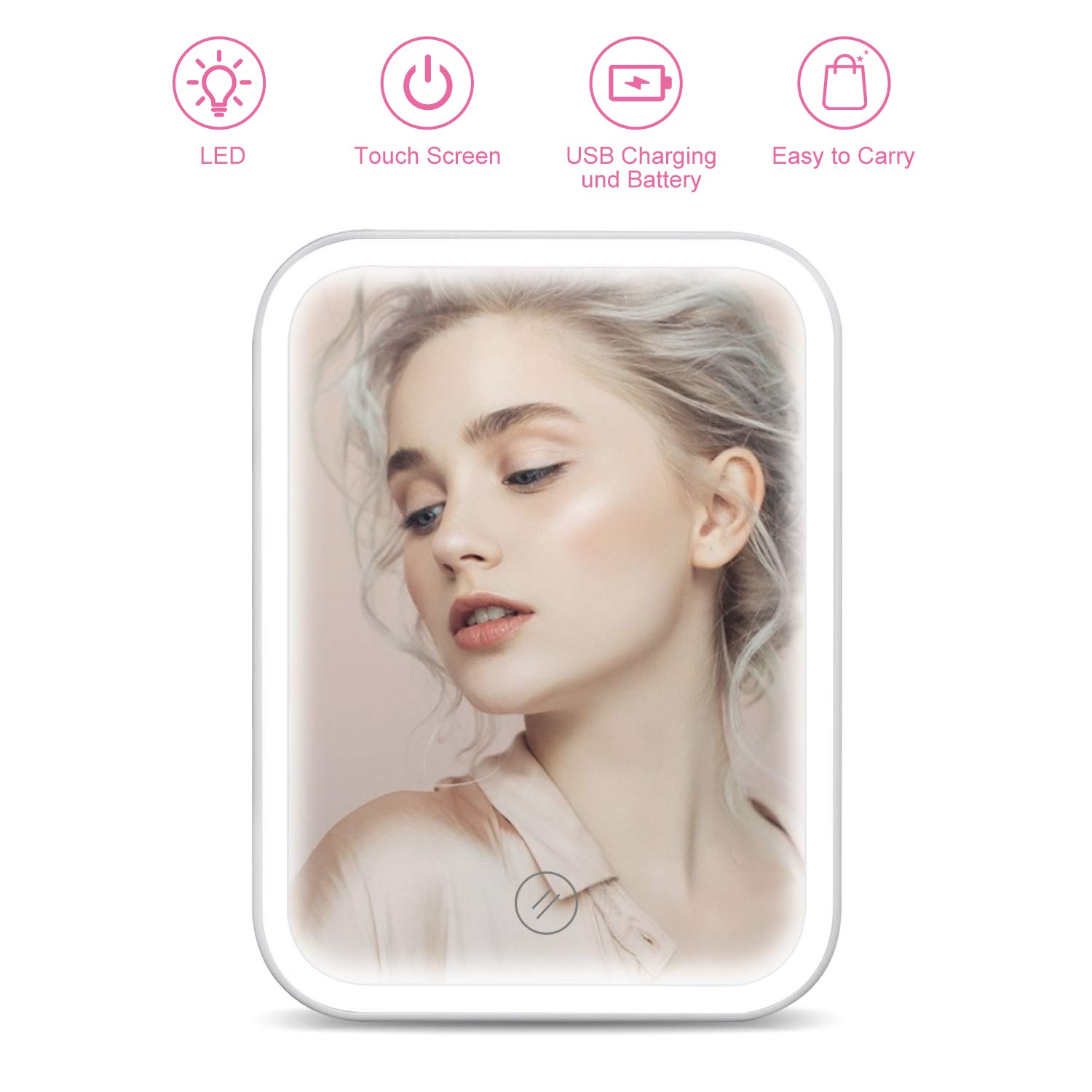 Makeup Mirror with Lights, HOCOSY Travel Vanity Mirror with Lights, Touch Screen Switch, Dual Power Supply, Portable Tabletop Illuminated Cosmetic Mirror with Light, White
