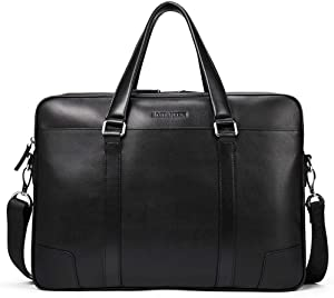 BOSTANTEN Leather Briefcase Messenger Business Bags Laptop Handbag for Men (A-black)
