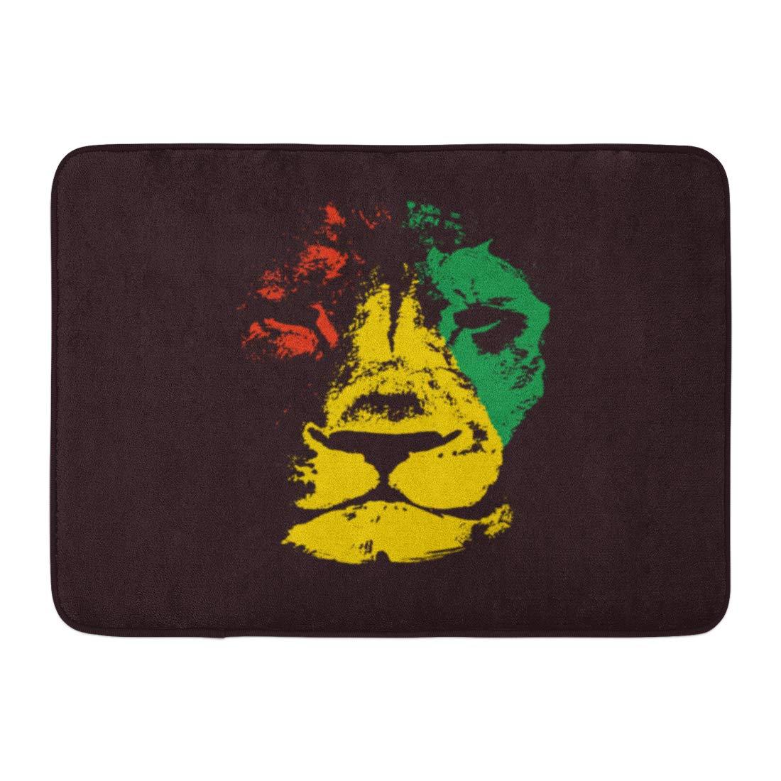 "Colorful Decor Lion Head Bath Mat Bathroom Rug Non-Slip Home Decor Carpet 24x16/"""