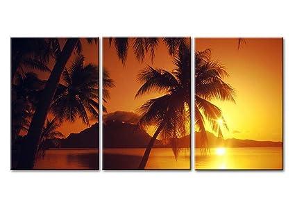 Canvas Print Wall Art Painting For Home Decor Beach Sunset At Bora Tahiti Borabora