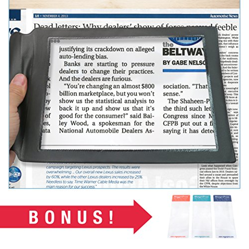 (MagniPros 2X Large Full Page Magnifier Magnifying Sheet with 3 Bonus Bookmark Magnifier- Magnifies Entire Page at Once Ideal for Reading & Low Vision Seniors)