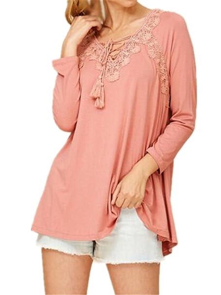 AILIENT Blusas De Encaje Flores Lace Crochet Mujeres Sexy Camisas Elegantes Camisetas Manga Larga T Shirt