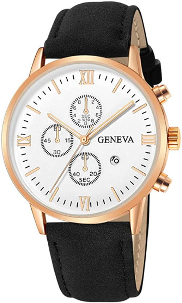 Relojes para Hombre, Reloj de Cuarzo analógico de Cuero para Hombre, Fecha, Vestido de Negocios, Reloj Deportivo Impermeable