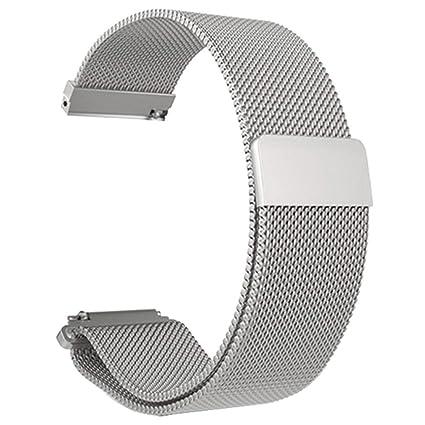 Zolimx Para Xiaomi Huami Amazfit Bip Smartwatch Acero Inoxidable Amazfit Bip Correa Reloj (Plata)