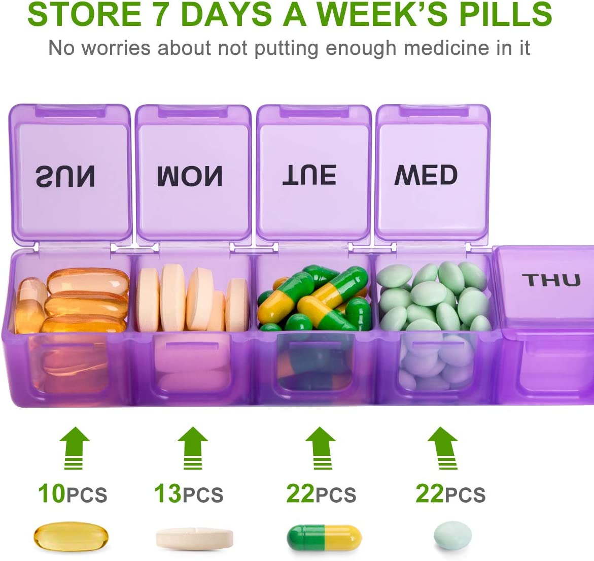 Extra Large Weekly Pill Organizer, Sukuos XL Daily Pill Cases for Pills/Vitamin/Fish Oil/Supplements (Purple): Health & Personal Care