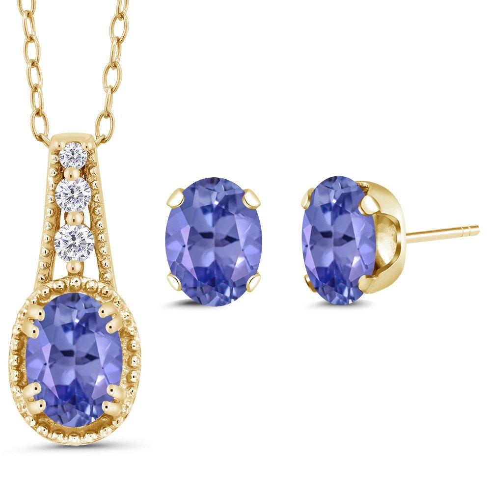 1.43 Ct Oval Blue Tanzanite 14K Yellow Gold Pendant Earrings Set