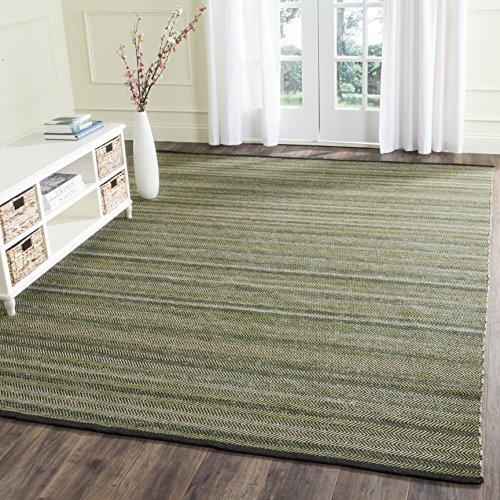 Safavieh Striped Kilim Collection STK421B Hand Woven Green Premium Wool Area Rug (4' x 6') ()