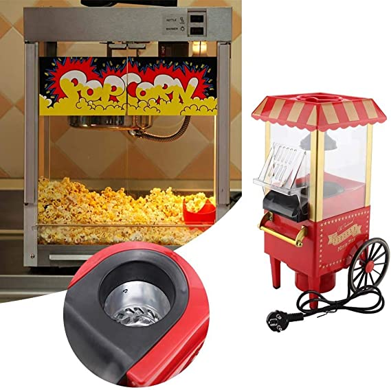 Máquina para hacer palomitas de maíz, máquina de palomitas de maíz de aire caliente eléctrica compacta de estilo vintage y carrito de concesión Carro de palomitas de maíz para fiesta en casa: