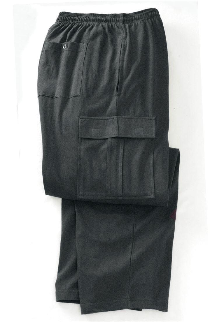 KingSize Jersey Knit Cargo Pants, Heather Charcoal Big-5Xl