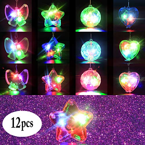 B bangcool Light Up Necklace LED Necklaces - Crystal Star Necklaces Light up Toys Dark Party Favor Supplies Accessories Glowing Colorful Shinning Toy for Kids & Adults(12 Pcs)  -