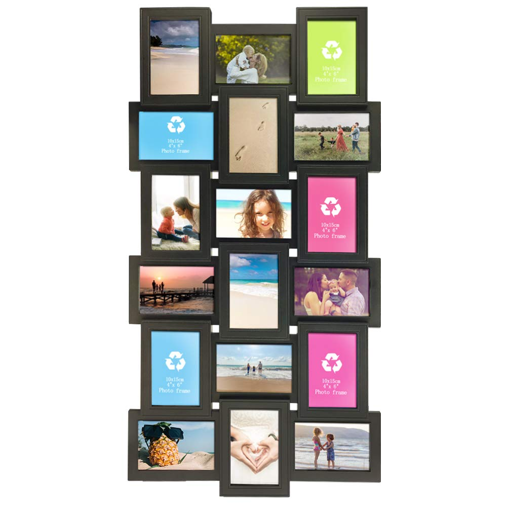 Artsay 4x6 Multi Picture Frames Collage 18 Openings Multiple Photo Frame for Wall Hanging, Black, Glass Front