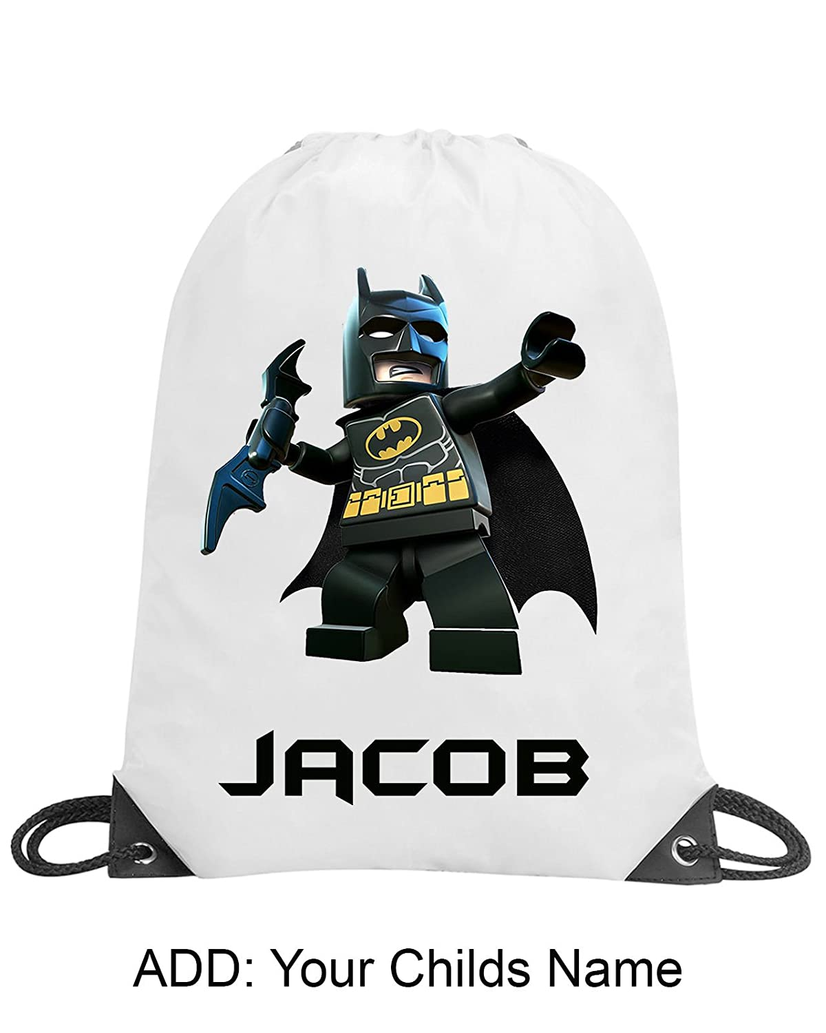 Boys Lego Batman Personalised Gym Sack Bag Swimming PE Dance School Gift Name Shugon