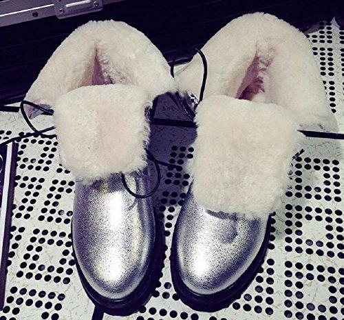 donna scarpe Casual in neve Up spessa Crepa SILVER da pelle Bootie 38 stivali della Stivali 38 di silver Martin e velluto Lace Burst cotone capovolgere wnZnqvxR