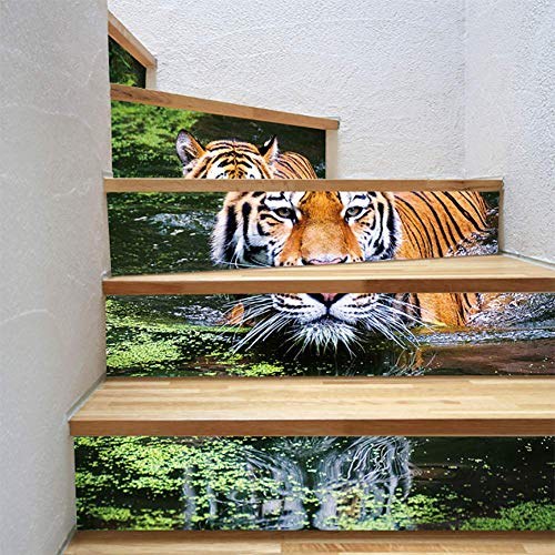 (FWSY Domineering Tiger Self-Adhesive Stair Riser Decal - Stair Stickers Decals Wallpaper for Walls Kitchen Bathroom Stair Decals Home Decoration 6 Pcs 7