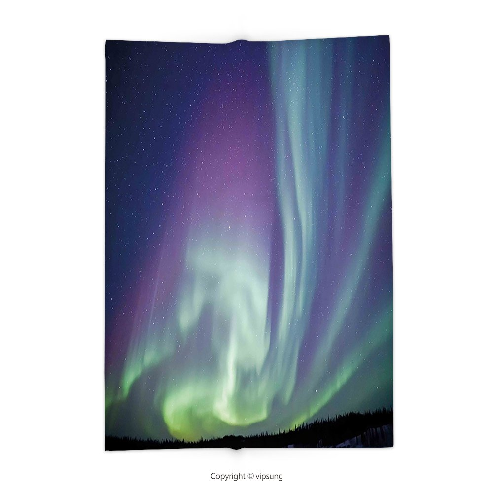 Custom printed Throw Blanket with Northern Lights Exquisite Atmosphere Solar Starry Sky Calming Night Image Mint Green Dark Blue Violet Super soft and Cozy Fleece Blanket