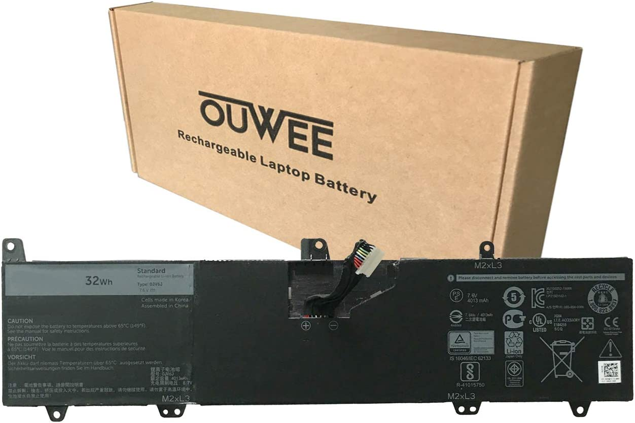 OUWEE 0JV6J Laptop Battery Compatible with Dell Inspiron 3179 3180 3162 3164 3168 Series Notebook 8NWF3 PGYK5 OJV6J 7.6V 32Wh 4013mAh 2-Cell
