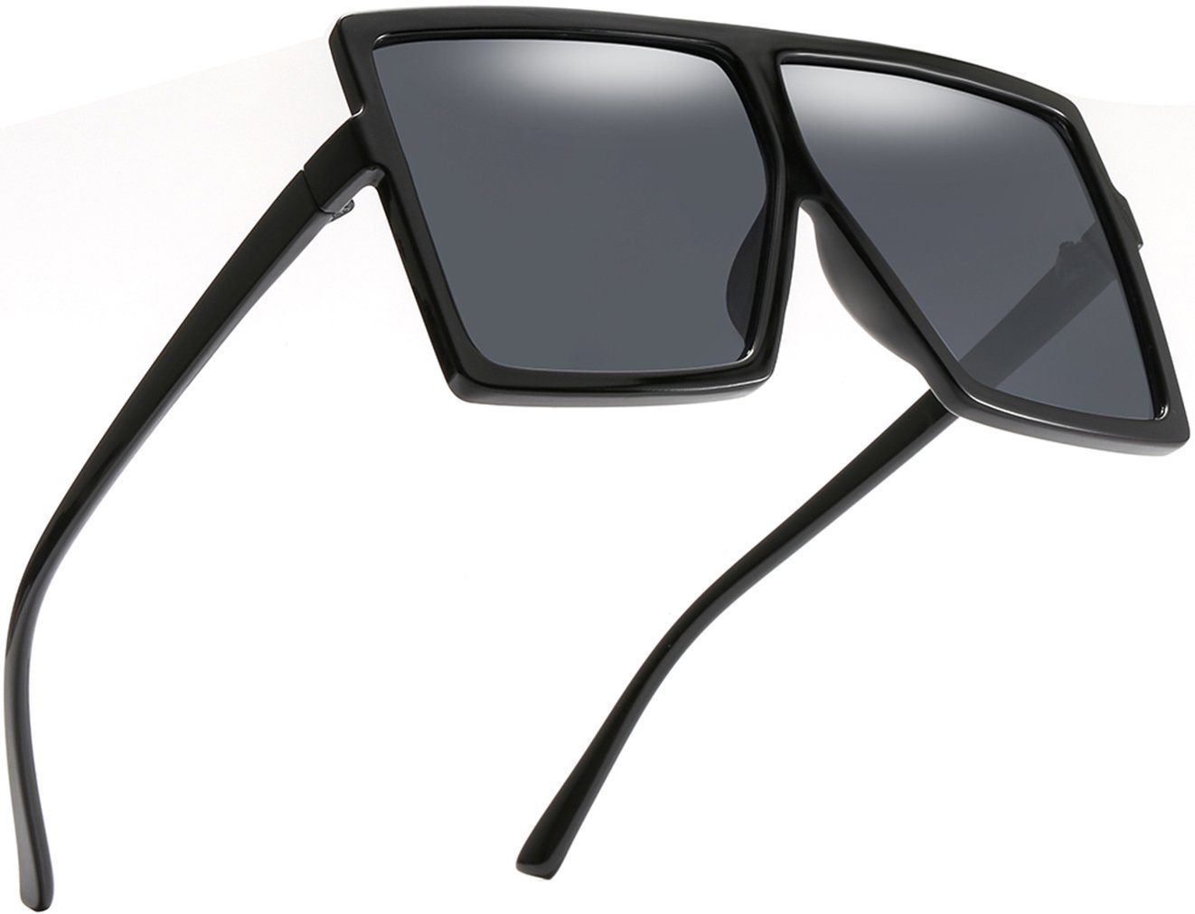 MAOLEN Square Oversized Flat Top Sunglasses for Women and Men (transparency-brown-gloss black-grey) by MAOLEN (Image #9)