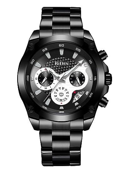 Relojes para Hombre del Cronógrafo de Acero Inoxidable Reloj de Pulsera Impermeable de Lujo para Hombres Calendario de Fecha Analógico Cronómetro ...