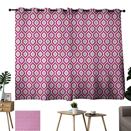 WinfreyDecor Abstract Thermal Curtains Floral Theme Curvy Nested Elliptic Forms Conceptual Spring Garden Suitable for Bedroom Living Room Study, etc.55 Wx45 L Pink Pale Green Pale Blue
