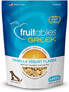 Fruitables Greek Crunchy Dog Treats Vanilla Yogurt Flavor With Pumpkin Granola & Greek Yogurt 7 Oz