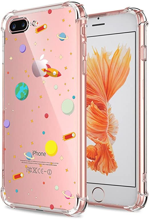 iPhone 7 Plus 8 Plus Case Clear, Crystal Clear with Design Cute & Funny Outer Space Galaxy Pattern Protective Case for iPhone 7 Plus 8 Plus Gel ...