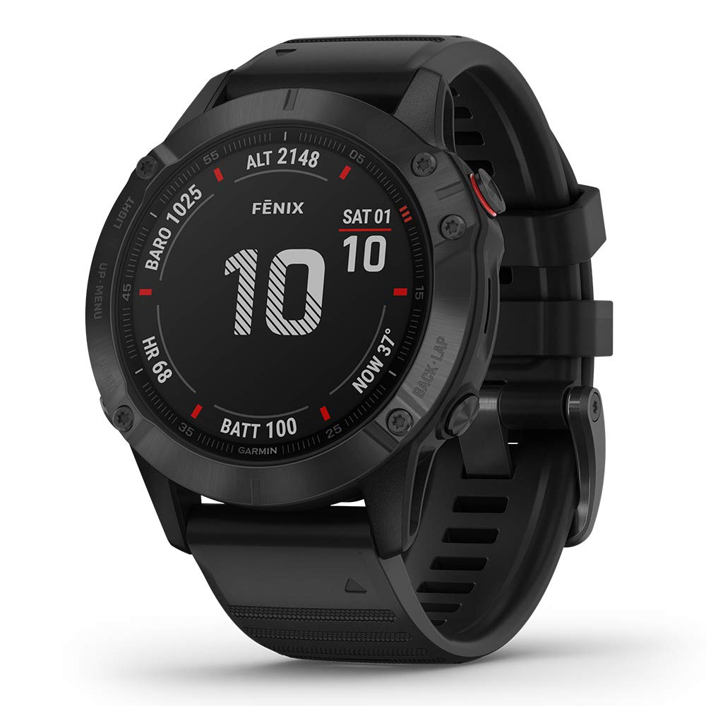 Garmin Fenix 6 Pro Black with Black Band Power Bundle with HD Screen Protectors, PlayBetter Portable Charger Protective Hard Case 2019 PulseOx, ClimbPro, Maps, PacePro, Spotify, Music