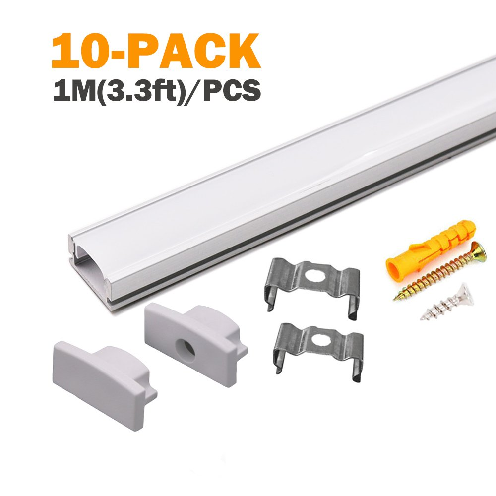 Starlandled 10-pack Aluminum Led Channel for Led Strip Lights Installation,Easy to Cut,Professional Look,U-shape Led Aluminum Channel with Cover and Complete Mounting Accessories for Easy Installation