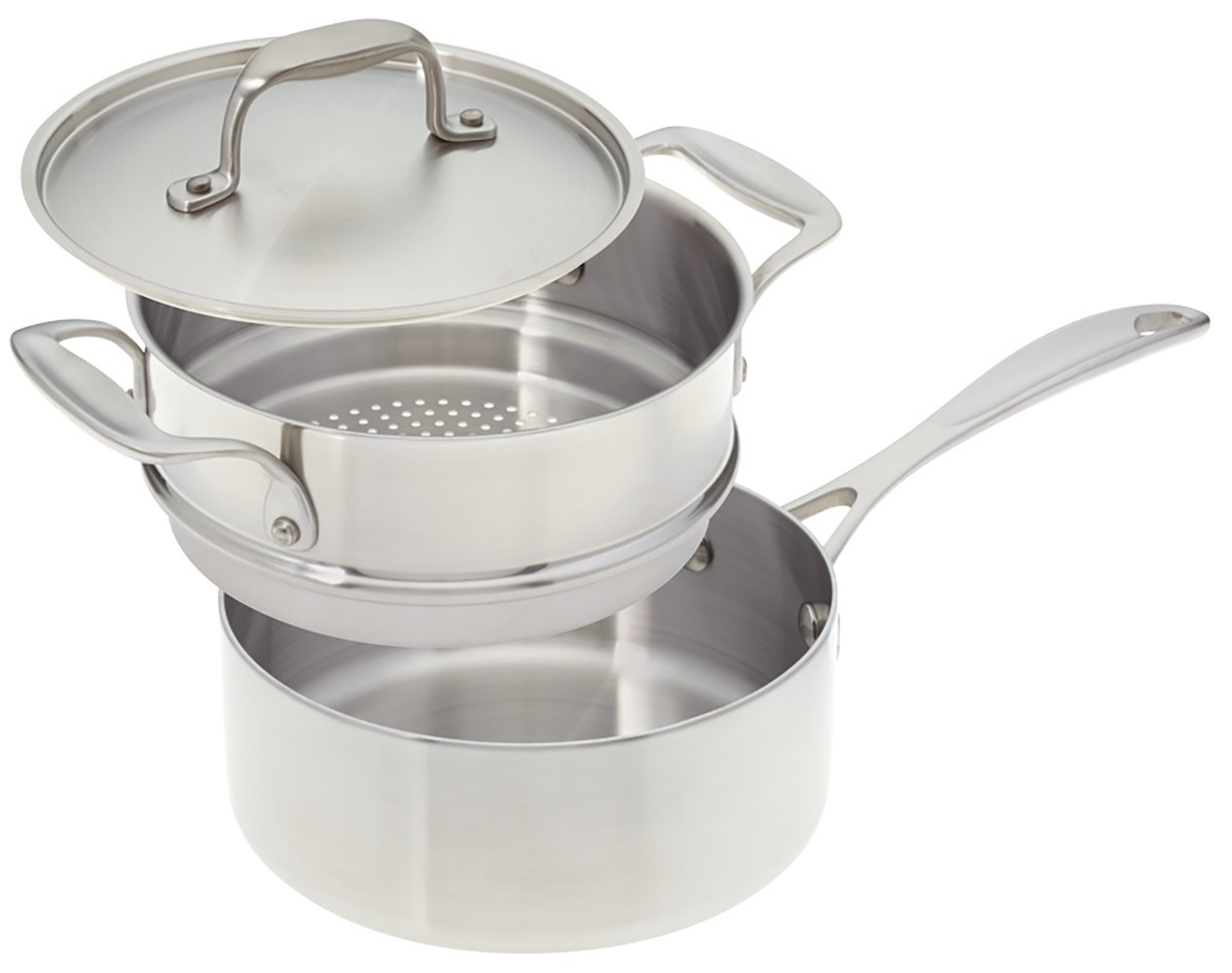American Kitchen - 2-quart Premium Stainless Steel Saucepan with Steamer Insert and Cover