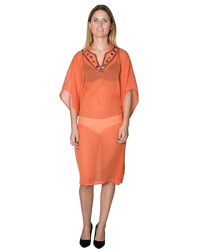 Bayside Barcelona Gasa Sexy Kaftan de Cuello de Fiesta de Bordado de Cuello de Mujer de Color Naranja Talla G: Amazon.es: Electrónica