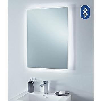 Bluetooth LED Designer Infra Red Bathroom Mirror Built In Shaver Socket Play Music